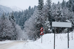 Road to mountains in the winter. Royalty Free Stock Photography