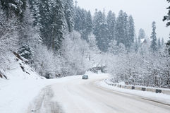 Road to mountains in the winter. Royalty Free Stock Image
