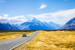 Road to Mt. Cook, New Zealand national park Stock Images