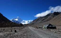 Road to Mt. Everest. Dirt Road Stretching to Mt. Everest, the highest Peak in the world Stock Images