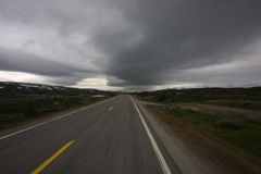 Road to nature. Lonely road very north in norway leading in national park Royalty Free Stock Photos