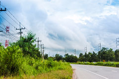 Road to nature place with blue sky.  stock images