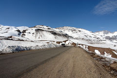 Road to Nevado Valley in Chile South America. Road to Nevado Valley, with snow covered montains on the spring Stock Photography
