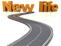 Road to new life. Abstract 3d illustration of asphalt road to new life sign stock illustration