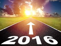 Road to new yea 2016  and  sunrise Royalty Free Stock Image