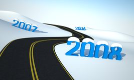 Road to new year. New year concept - business travel vector illustration