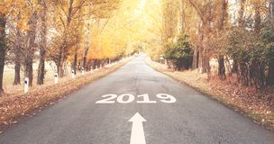Road to New Year 2019. stock images