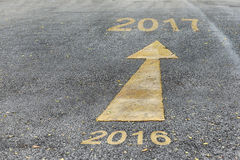 Road to new year from 2016 to 2017 Stock Photo