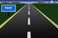 Road to the night. Vector illustration of straight road to the night with sign Stock Photo