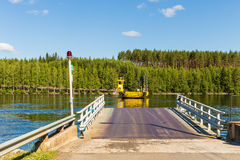 Road 471 to north Finland is crossed by cable ferry Stock Photos