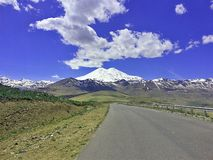 Road to Elbrus. The road to the northern slopes of Elbrus is interesting and dangerous stock photo