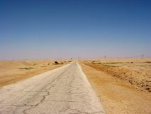Road to nowhere. Mainroad connecting Suez to Cairo in the mainland in Egypt Royalty Free Stock Images