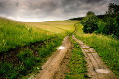 Road to nowhere. Road in the field going to horizon stock photos