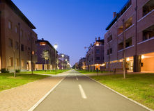 Road to nowhere. Night street in bologna, italy Royalty Free Stock Images