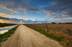 Road to nowhere. Sunset over rural landscape, Ribatejo, Portugal Stock Images