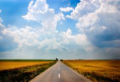 Road to nowhere. Road converging to infinity in the middle of fields Royalty Free Stock Images