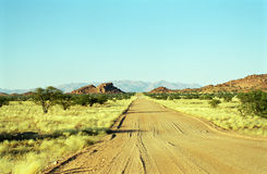Road to nowhere, Damaraland, Namibia. Damaraland is in the northern part of Namibia. Roads are going hundreds of miles without reaching any settlement Royalty Free Stock Photos