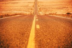 Road To Nowhere. With Passing Zone. Western Utah Countryside Highway During Hot Summer Day Royalty Free Stock Photos