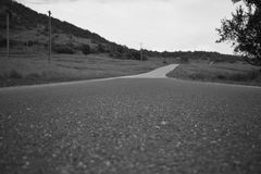 Road to nowhere. Black and white royalty free stock photography