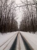 Winter road to nowhere stock photography