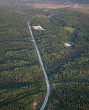 Road to oil field, top view Stock Photo