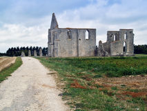 Road to an old cathedral on Island de Re. Dirt road leading to the ruins of an ancient cathedral on the island of ile de re,france Royalty Free Stock Photos