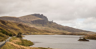 Road to Old Man of Storr, Isle of Skye. Single-file road to Old Man of Storr, Isle of Skye, Scotland Stock Photography