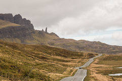Road to Old Man of Storr, Isle of Skye. Single-file road to Old Man of Storr, Isle of Skye, Scotland Stock Image