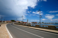 Road to old town near the sea Nesebar Bulgaria. Road to old town Nesebar Bulgaria Royalty Free Stock Photos