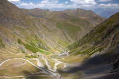 Road to Omalo - one of the the most dangerous roads in the world. Tusheti, Georgia stock images