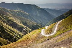 Road to Omalo - one of the the most dangerous roads in the world. Tusheti, Georgia stock image