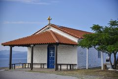 Orthodox Church in Bulgaria on the beach red roof and blue sky royalty free stock photo