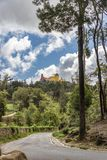 Road to the Palácio Nacional da Pena in Sintra. The beautiful castle de la Pena in the park of Sintra stock images