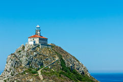 Road to Palagruza Lighthouse. Lighthouse on island Palagrusa, in Adriatic sea. The farthest island in Croatia Stock Image
