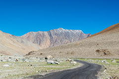Road to Pangong Lake in Ladakh,India. Pangong Tso, Tibetan for long, narrow, enchanted lake, also referred to as Pangong Lake, is an endorheic lake in the Stock Photo