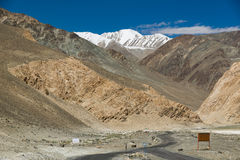 Road to Pangong Lake in Ladakh,India. Pangong Tso, Tibetan for long, narrow, enchanted lake, also referred to as Pangong Lake, is an endorheic lake in the Stock Image