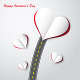 Road to paper heart decorative illustrator. Royalty Free Stock Photos