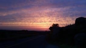 Road to Paradise. Backroads, Night Drive, Amazing Sky Stock Photo
