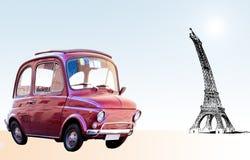 Road to Paris. Funny car moving to Paris Stock Photos