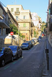 Road to Park Guell in Barcelona with parked cars Stock Image