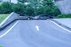 Road to the parking lot Stock Images