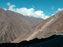 The road to the pass. The road to the mountain pass of Tajikistan Royalty Free Stock Photos
