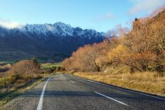 On the road to Peak of Mount Cook Aoraki in New Zealand Royalty Free Stock Photo