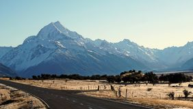 On the road to Peak of Mount Cook Aoraki in New Zealand Royalty Free Stock Photos