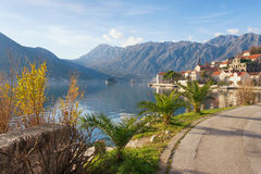 Road to Perast town. Bay of Kotor, Montenegro Royalty Free Stock Photo