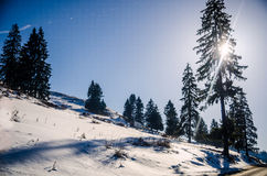 On a road to Piatra Craiului mountains. On a road to Piatra Craiului - Romania, sunny day, and smmooth snow Royalty Free Stock Images