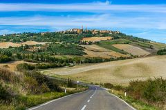Road to Pienza. Road leading to Pienza, a town on top of the hill in Tuscany stock photography