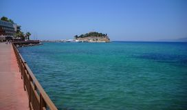 Road to Pigeon Island Fortress, also known as the Pirates castle, in the Kusadasi harbor. Copy space. Royalty Free Stock Photography