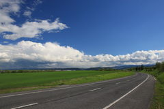 Road to Poprad. Curve road on sunny day Stock Photography