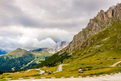 Road to Pordoi Pass 2239m in Dolomites of Italy Royalty Free Stock Images